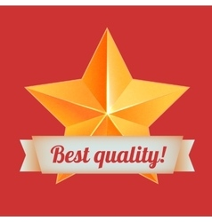Golden 3d star with a ribbon best quality the vector