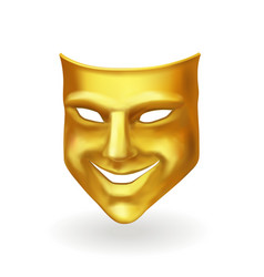golden theater mask of comedy realistic icon vector image