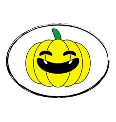 Halloween pumpkin yellow cartoon stamp logo vector