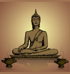 Hand drawn buddha in meditation vector