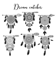 Hand drawn indian dreamcatcher with feathers vector