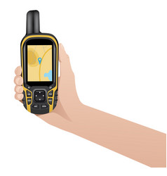 hand with realistic gps navigator vector image