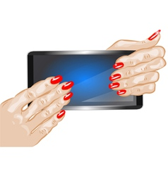 hands holding phone vector image