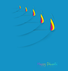 happy diwali celebration template in paper cut vector image