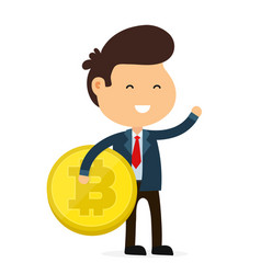 happy funny smiling businessman hold bitcoin vector image