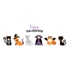 Happy halloween - cats in monsters costumes vector