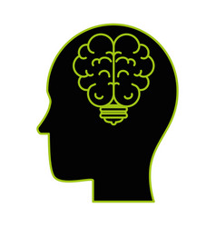 human profile with bulb and brain vector image