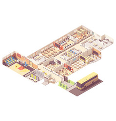 isometric school building cross-section vector image