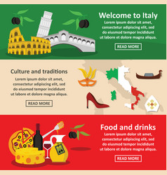 Italy travel banner horizontal set flat style vector
