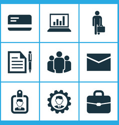 job icons set collection of diagram contract id vector image