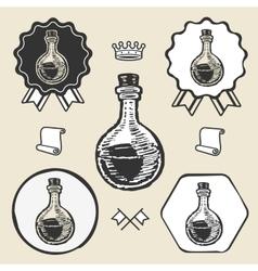 Lab tube glass vintage symbol emblem label vector