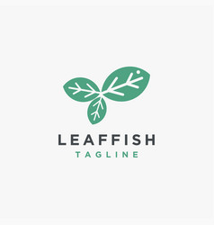leaf fish logo icon template vector image