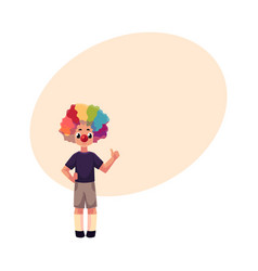 Little boy wearing clown nose and wig showing vector