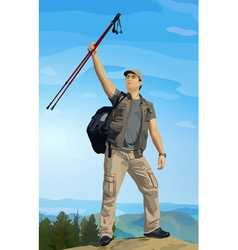 Man tourist standing on mountain top vector image