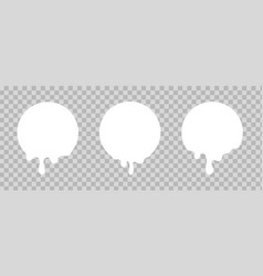 Melted white sticker circles with drips paint vector