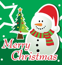 Merry Christmas Snowman Greeting Card vector