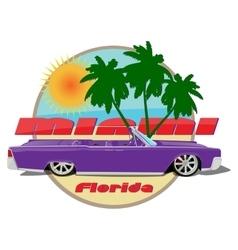Miami florida car cadillac cabriolet violet vector
