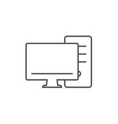 monitor screen with pc line icon vector image
