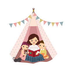mother reading book with son and daughter vector image