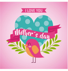 mothers day love you card dotted heart bird vector image