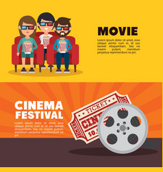 Movie cinema festival people ticket banner vector