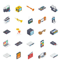 Multimedia devices isometric icons pack vector