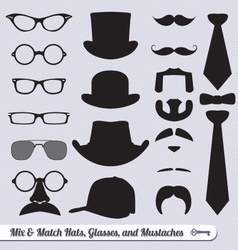 Mustache hat glasses and ties labels vector