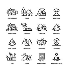 Natural disaster accidents line icons and vector