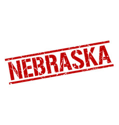 Nebraska red square stamp vector