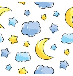 pattern with night sky elements vector image