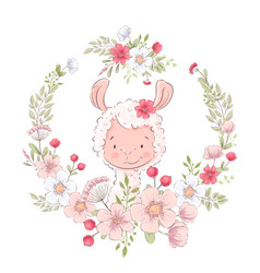 Postcard poster cute llama in a wreath flowers vector