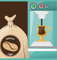 premium coffee sac drink vector image