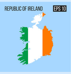 Republic of ireland map border with flag eps10 vector