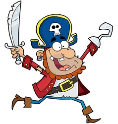 Running Pirate Holding Up A Sword And Hook vector