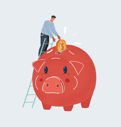 saving money young tiny man vector image