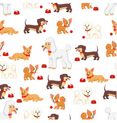 seamless pattern with different kind of dogs vector image