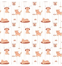 Seamless pattern with funny cats in flat style vector image
