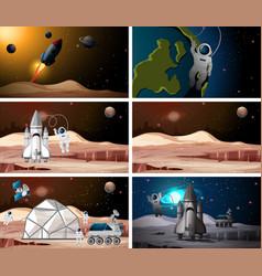 Set astronaut scenes vector