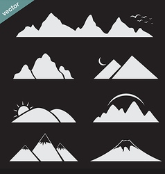 set mountain icons vector image