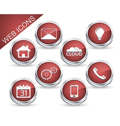 Set of icons or buttons in red vector image