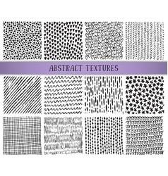 Set of twelve hand drawn ink abstract textures vector