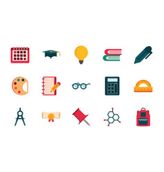 set supply stationery education school icon vector image