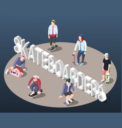 Skateboarders isometric background vector