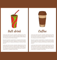 Soft drink and coffee cup vector