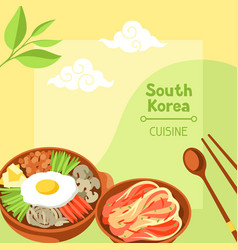 South korea cuisine korean banner design with vector