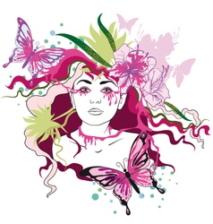 Spring portrait of woman vector