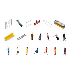 subway station icons isometric view vector image