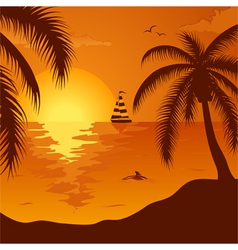 Summer background with palm tree dolphin and yacht vector