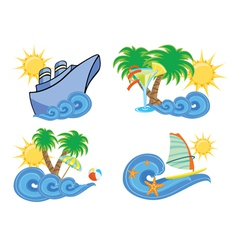 summer beach insignia set vector image vector image