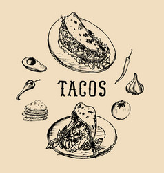 Tacos menu in tacos vintage vector